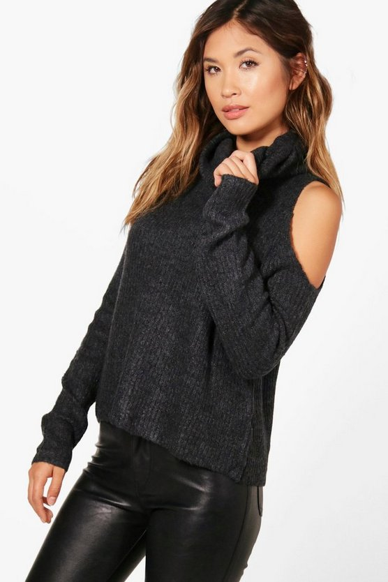 Supersoft Roll Neck Cold Shoulder Jumper