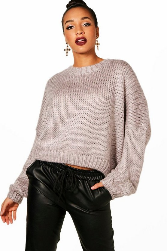 Womens Grey Crop Oversized Chunky Jumper