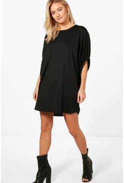 Womens Black Charlotte Oversized Elasticated Frill Shift Dress