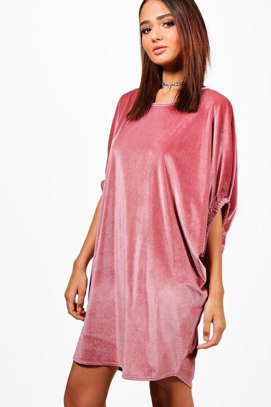 Velvet Elasticated Sleeve Shift Dress