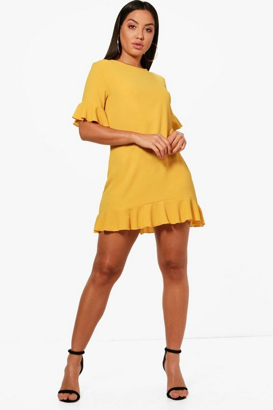 Womens Amber Ruffle Hem Shift Dress