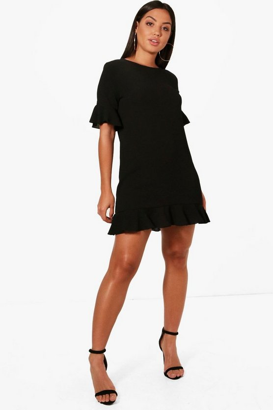 Ruffle Hem Shift Dress