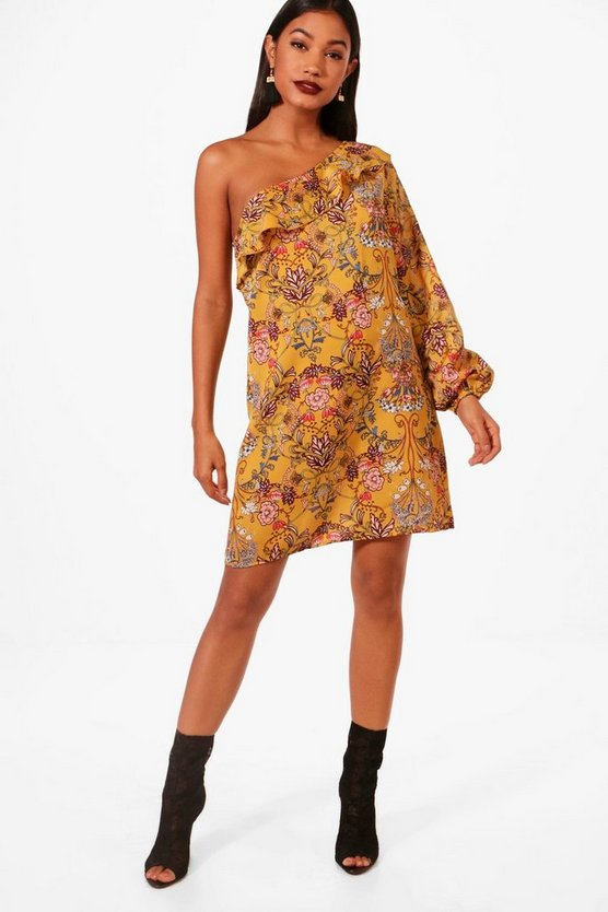 Ruffle One Shoulder Floral Shift Dress