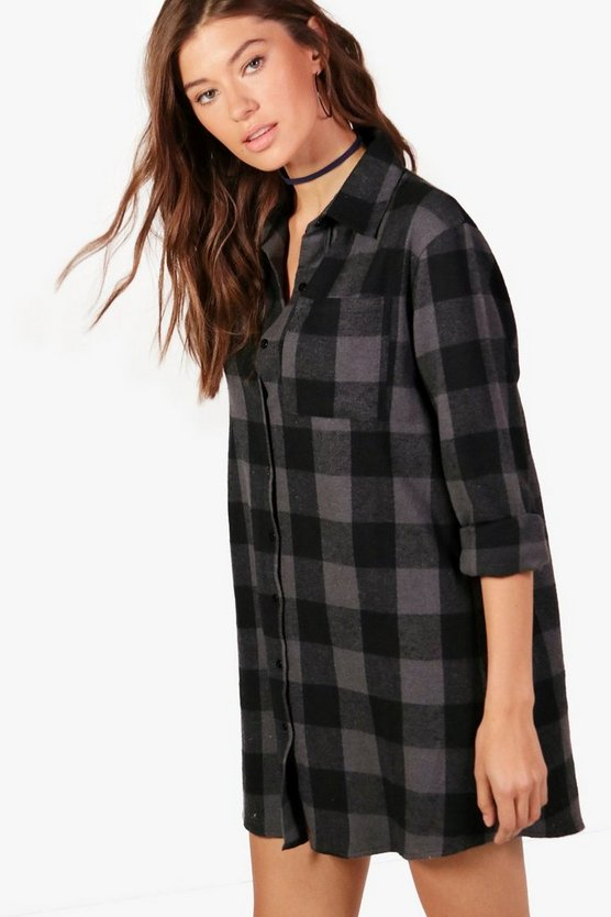 Oversized Check Shirt Dress