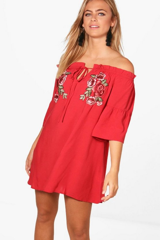 Applique Off Shoulder Flute Sleeve Dress