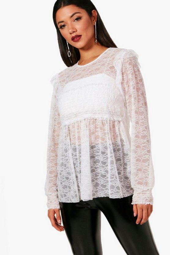 Lace Shirred Top