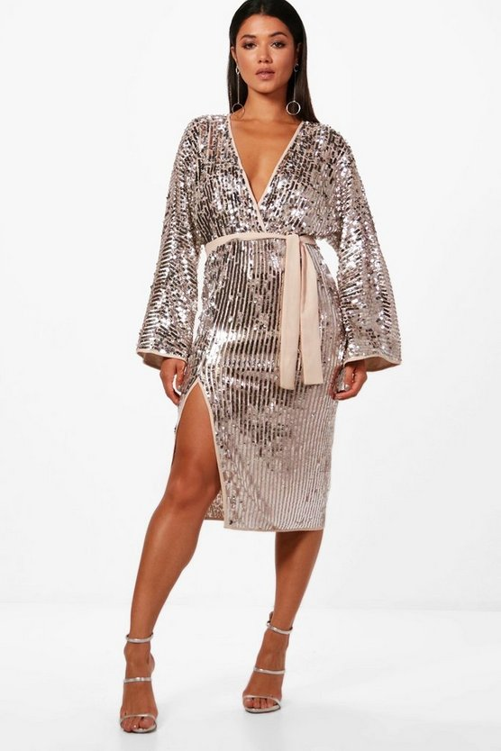 Womens Silver Boutique Lo Sequin Kimono Sleeve Midi Dress