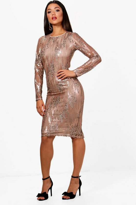 Boutique Sequin Long Sleeve Midi Dress