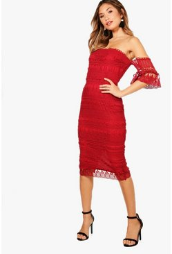 Womens Berry Boutique  Lace Off the SHoulder Midi Dress