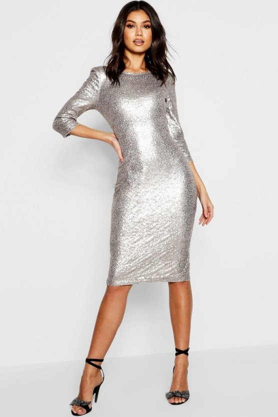Boutique  Sequin Power Shoulder Midi Dress