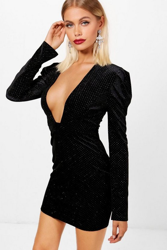 Deep Plunge Studded Velvet Mini Dress