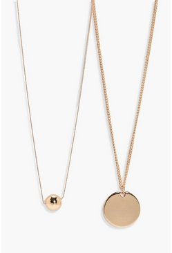 Womens Gold Coin And Bead Necklace Pack