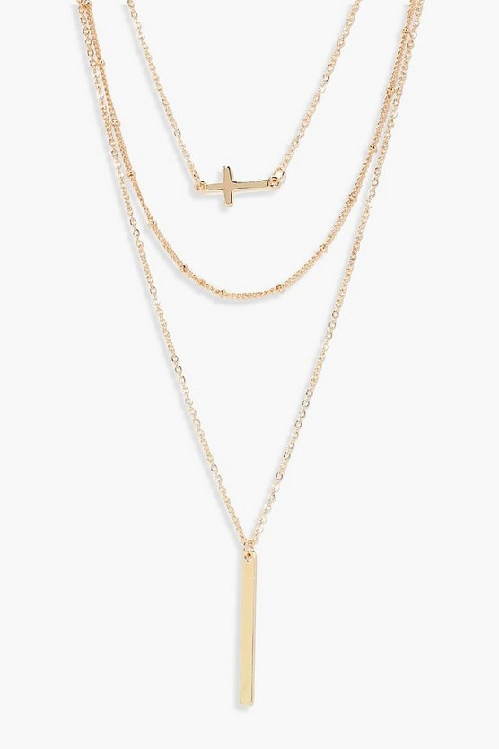 Gold Layered Cross And Bar Necklace
