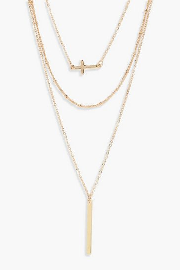 Womens Gold Layered Cross And Bar Necklace