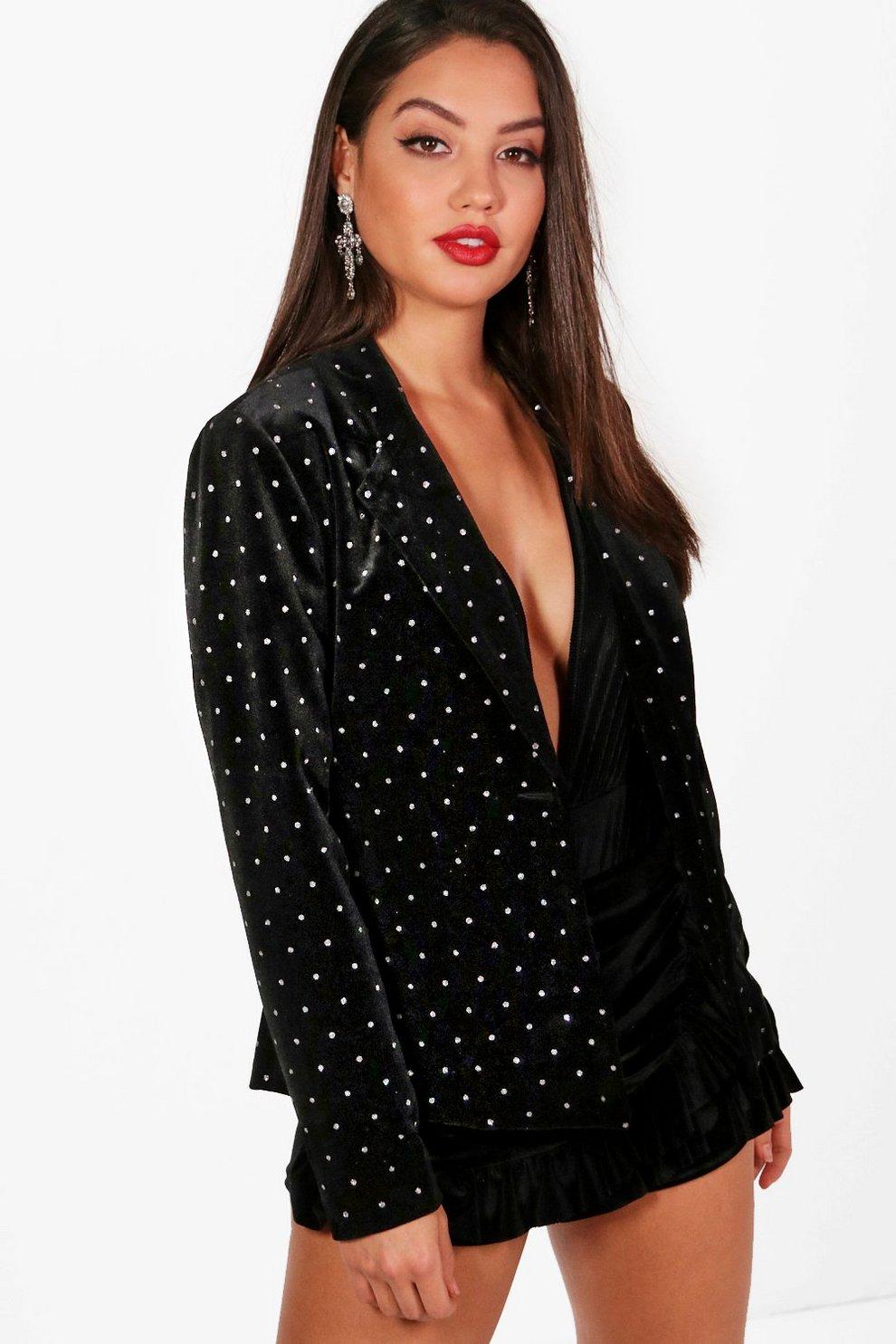 860ac3f3d5f46 Boutique Glitter Spot Velvet Blazer | Boohoo