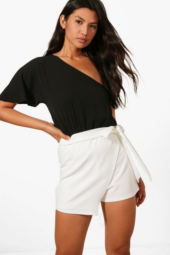 Womens Black Janey Monochrome One Shoulder Skort Style Playsuit