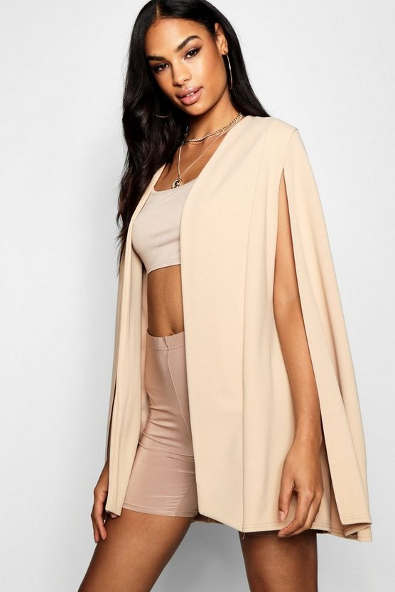 Collarless Longline Cape