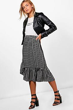 Victorian Steampunk Clothing & Costumes for Ladies Lucy Ruffle Hem Contrast Stripe Midi Skirt $40.00 AT vintagedancer.com