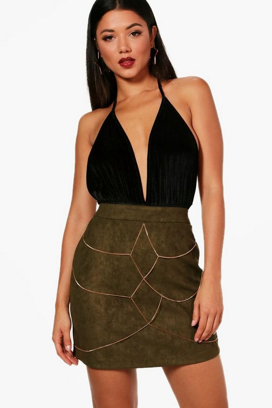 Chain Harness Front Suedette Mini Skirt