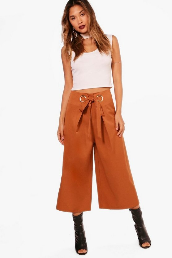 Eyelet Detail Woven Wide Leg Culottes