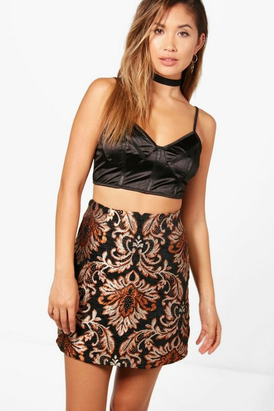 Tapestry Baroque A Line Mini Skirt