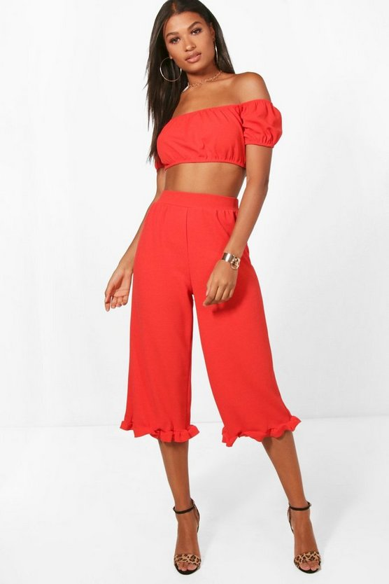 Em off Shoulder Crop & Frill Trouser Co-Ord Set