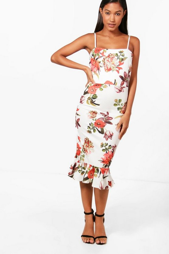 Womens Floral Print Equal Red Frill Hem Midi Dress