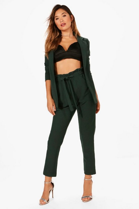 Violet Paper Bag Waist Suit Trouser