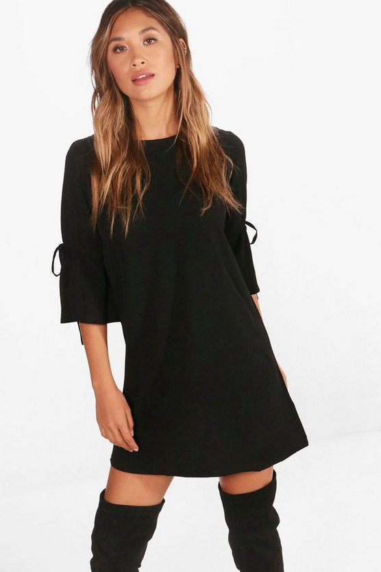 Tie Sleeve Woven Shift Dress