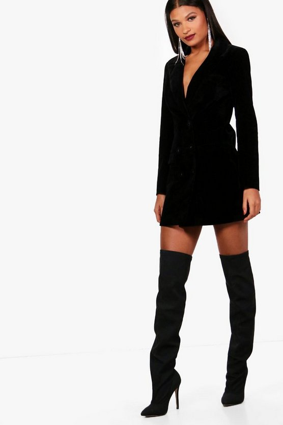 Womens Black Velvet Double Breasted Blazer Tux Dress