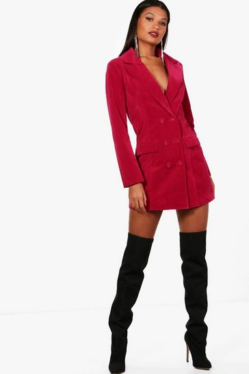 Womens Raspberry Velvet Double Breasted Blazer Tux Dress