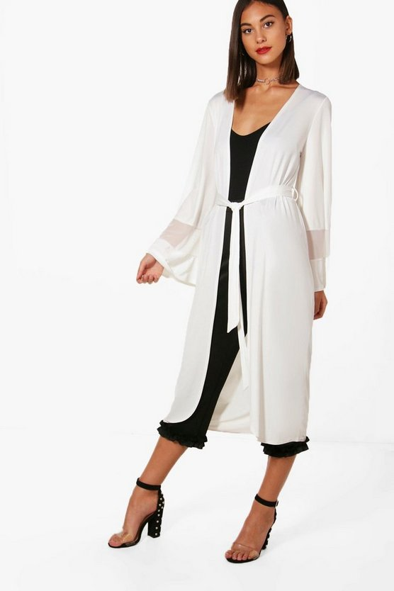 Melanie Mesh Panel Belted Duster