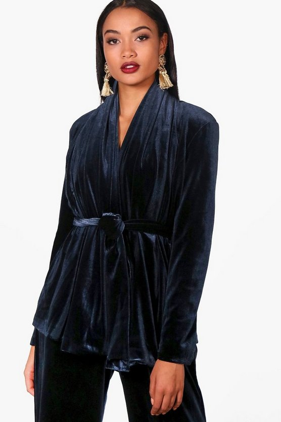 Navy Boutique Velvet Lined Shawl Collar Jacket