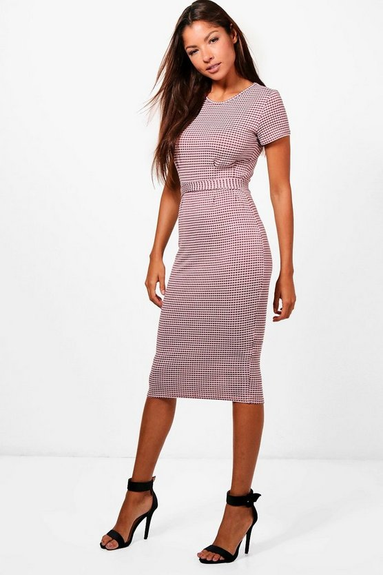 Gingham Pleat Belted Midi Dress
