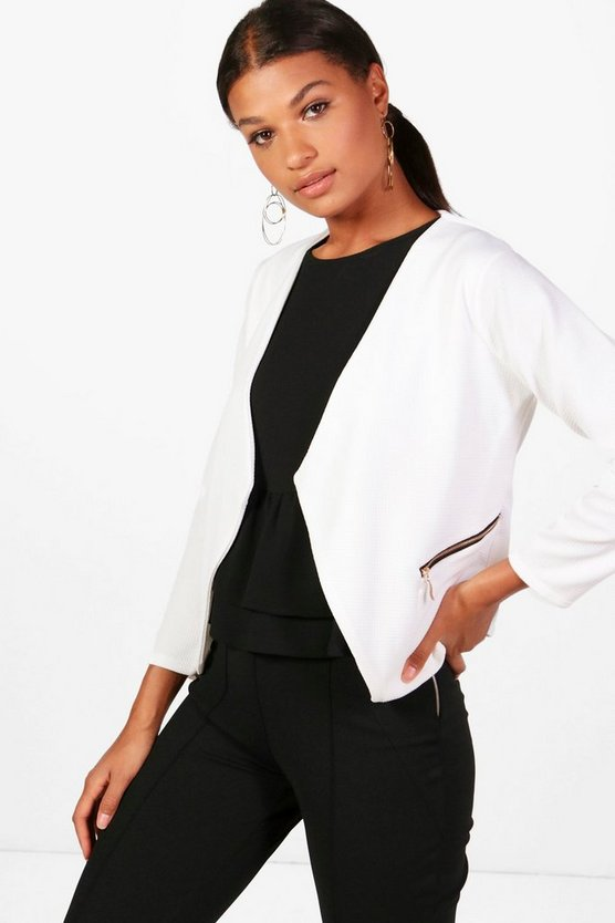 Rhyla Textured Zip Detail Blazer