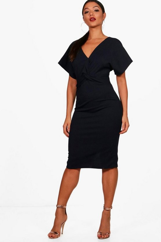 Womens Navy Wrap Over Tailored Midi Dress