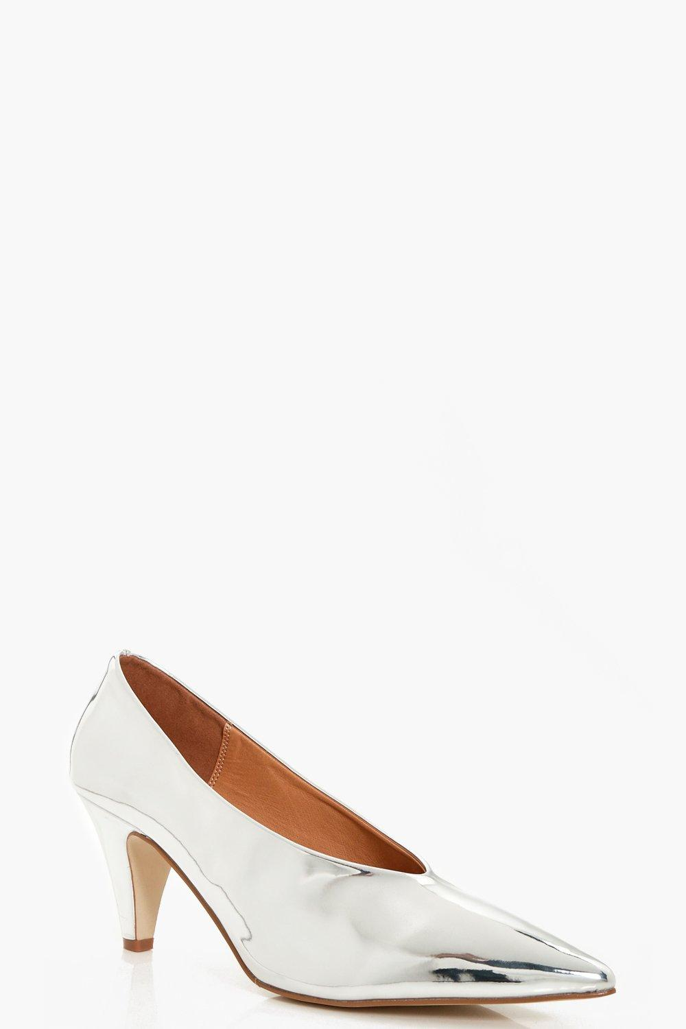 Daisy Pointed Toe Metallic Cone Heel Courts