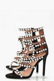 9415c9b9be0c ... Womens Black Premium Ella Pearl Embellished Gladiator Heel alternative  image ...