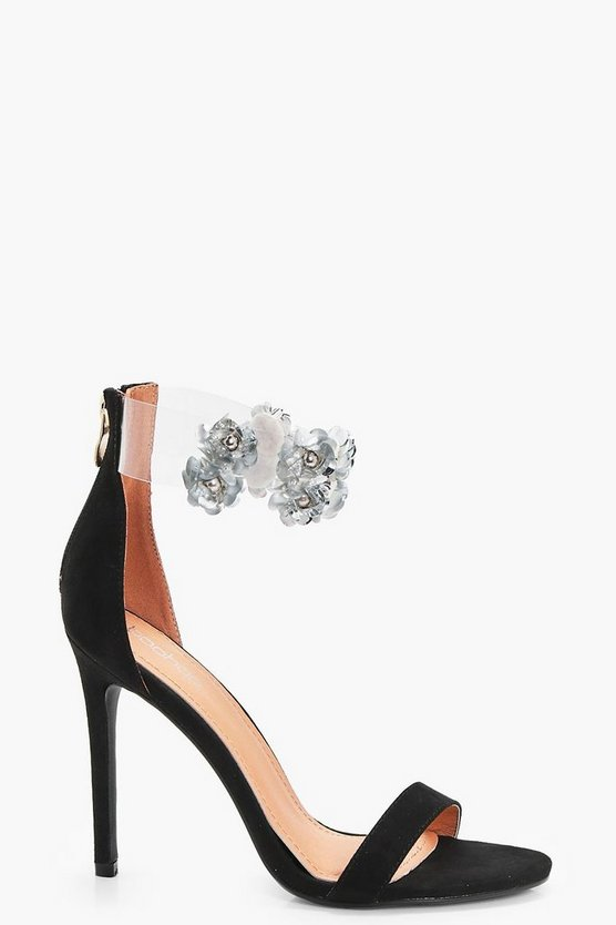 Embellished Clear Ankle Band 2 Part Heels