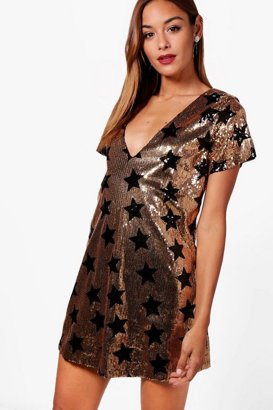 Sequin Star Print Shift Dress