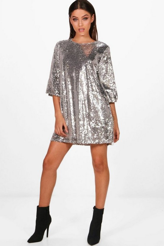 Boutique Emma Sequin Wide Pleat Shift Dress