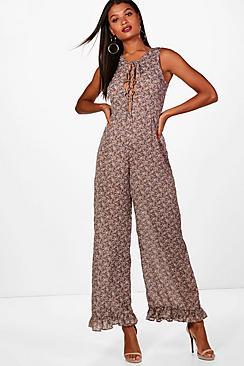 1960s – 70s Pants, Jeans, Bell Bottoms, Jumpsuits Emily Ruffle Hem Wide Leg Jumpsuit $51.00 AT vintagedancer.com