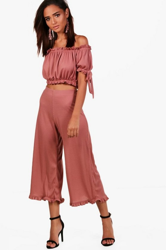 Womens Lola Off Shoulder Crop & Frill Culotte Co-Ord Set
