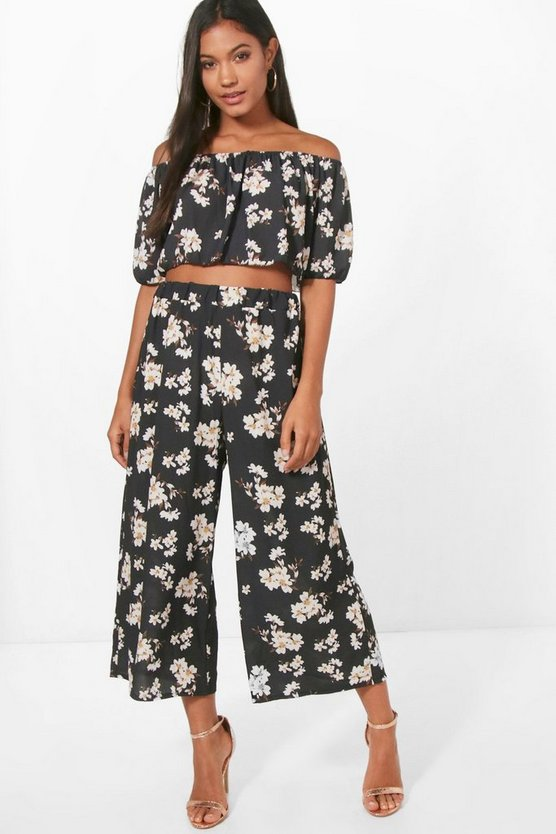 Bridget Floral Crop and Woven Culotte
