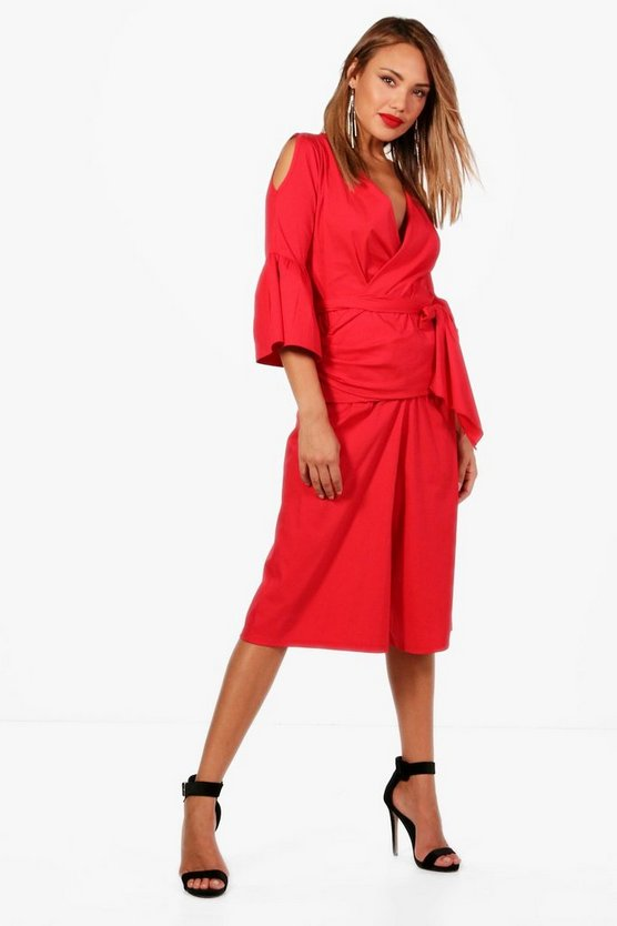 Woven Wrap Frill Blouse and Culotte