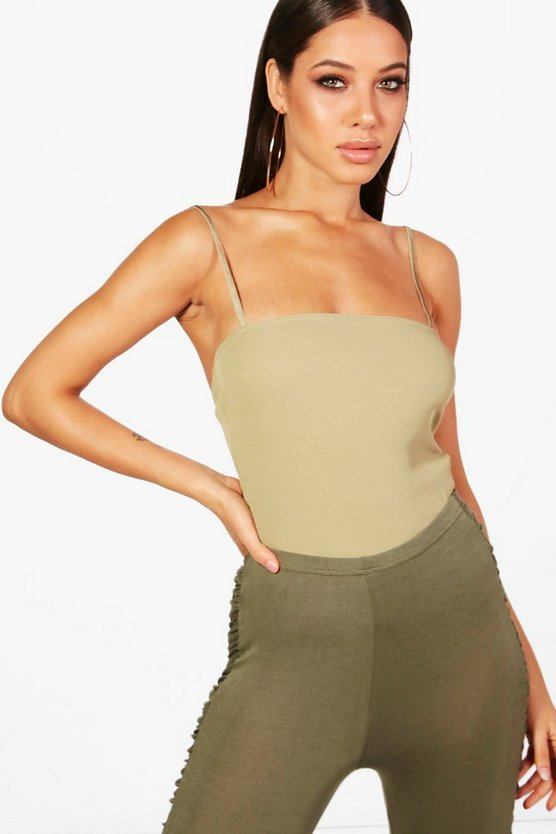 Womens Sage Basic Rib Square Neck Bodysuit