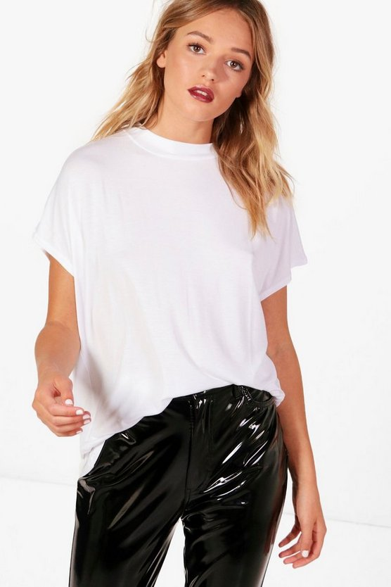 Womens White Missie Basic Oversized Rib Neck Tee