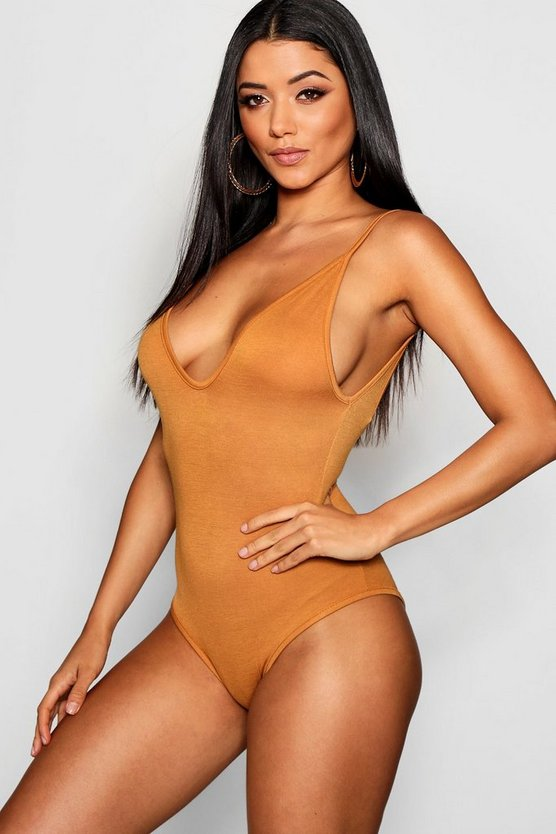 Womens Amber Basic V Neck Strappy Bodysuit