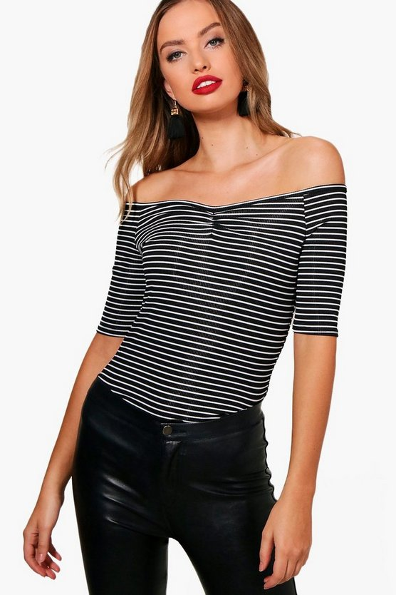 Kyra Stripe Rib Off The Shoulder Bodysuit