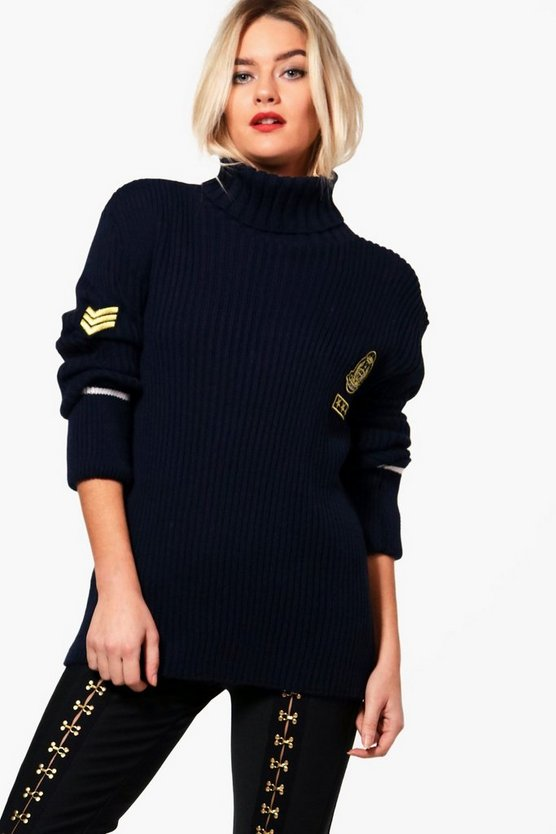 Maxinne Military Badge Roll Neck Jumper